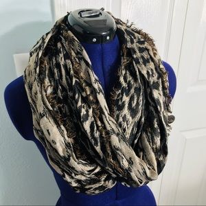 Accessories - Leopard Print Infinity Scarf with Fringe Trim